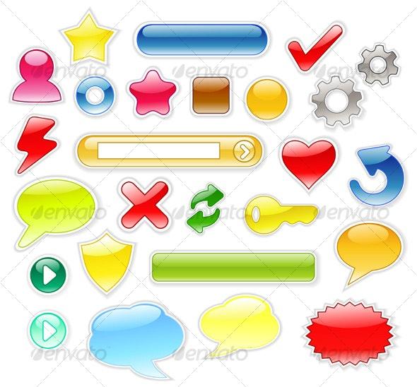 Glossy Web Symbols - Decorative Symbols Decorative