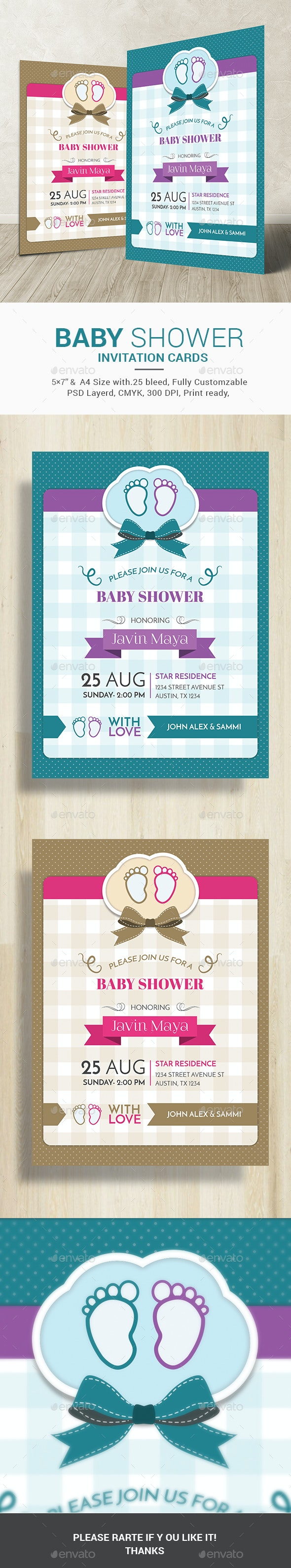 Baby Shower Invitation Card - Cards & Invites Print Templates