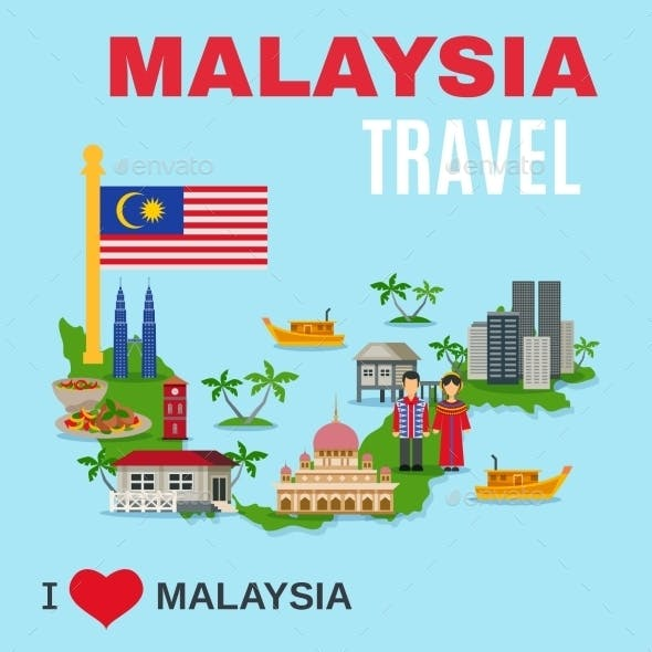 Malaysia Culture Travel Agency Flat Poster