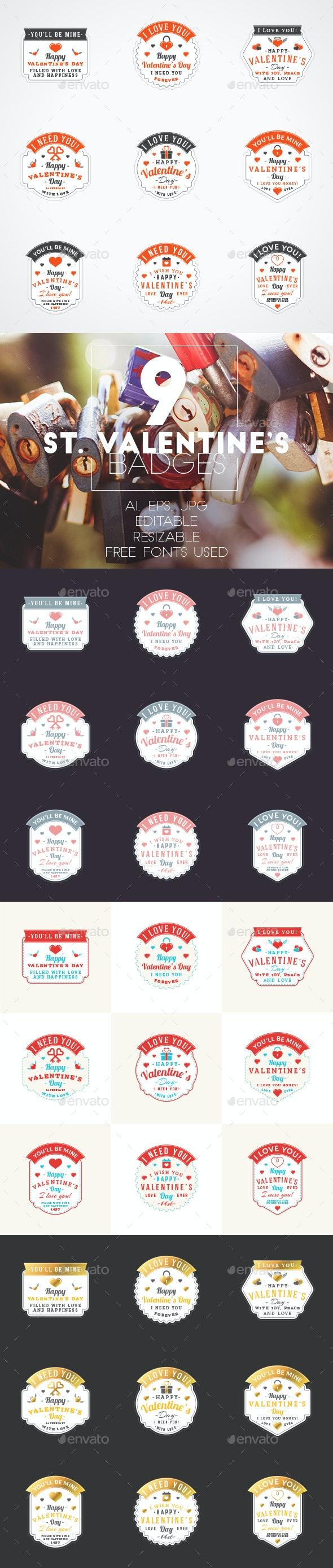 Set of 9 St. Valentine's Badges - Badges & Stickers Web Elements