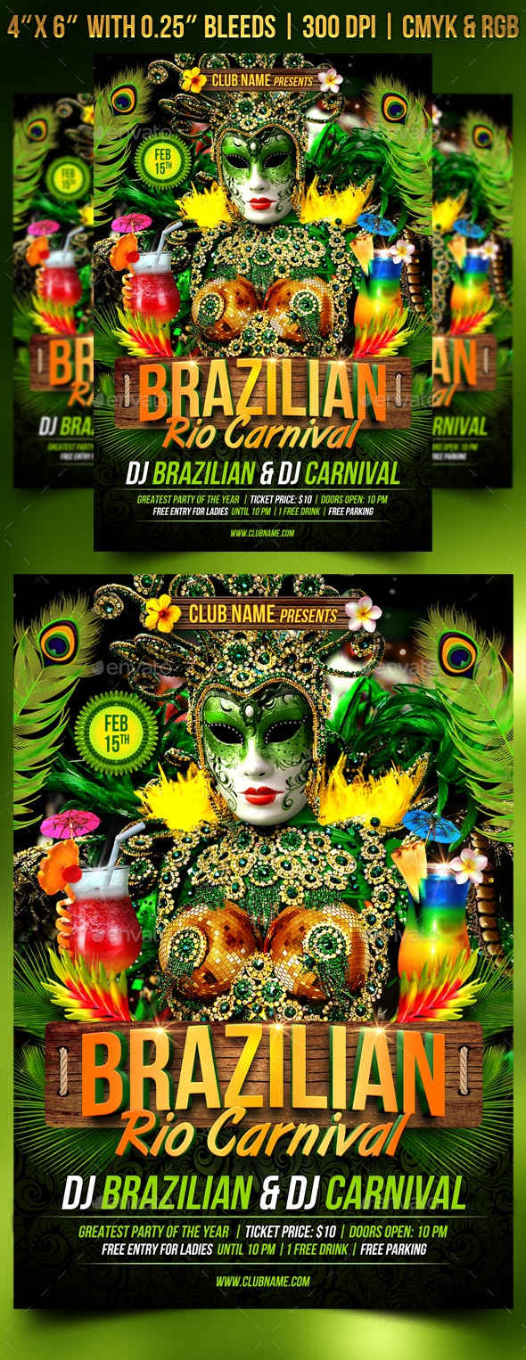 Brazilian Rio Carnival Flyer Template - Clubs & Parties Events