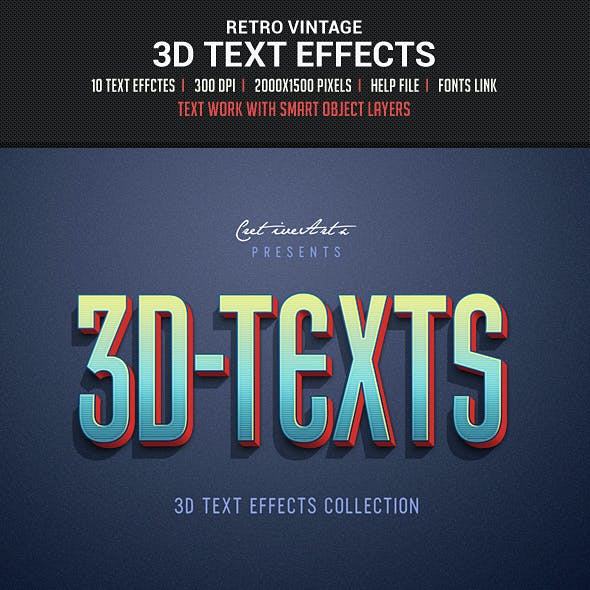 Retro Vintage 3D Text Effects