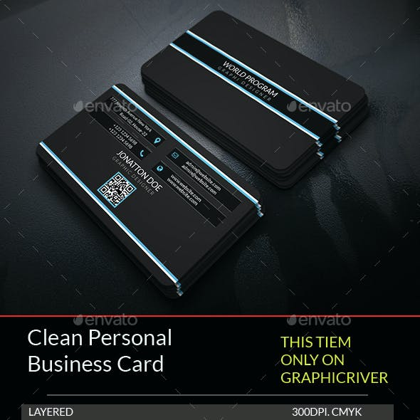Clean Personal Business Card Template.188