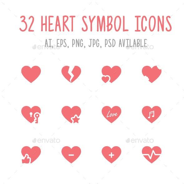 32 Heart Symbol Icons