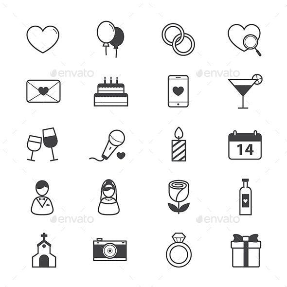 Valentine and Love Wedding Icons Line