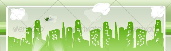 Web2.0 Skyline website header - Backgrounds Graphics
