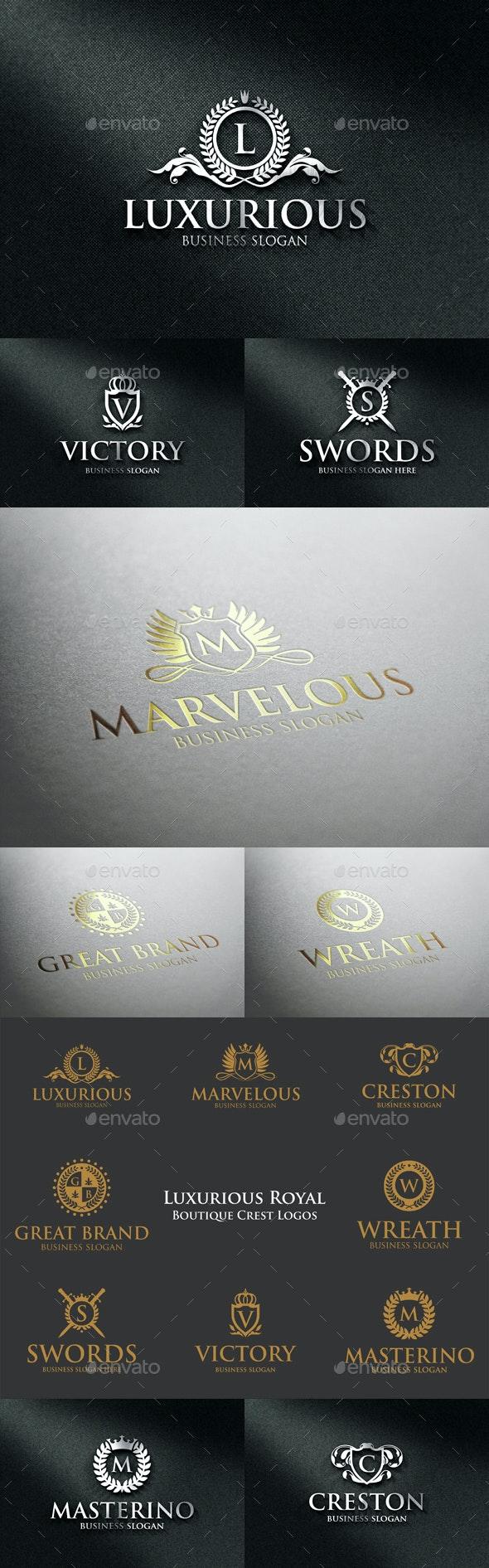 Luxurious Royal Boutique Crest Logos - Badges & Stickers Web Elements