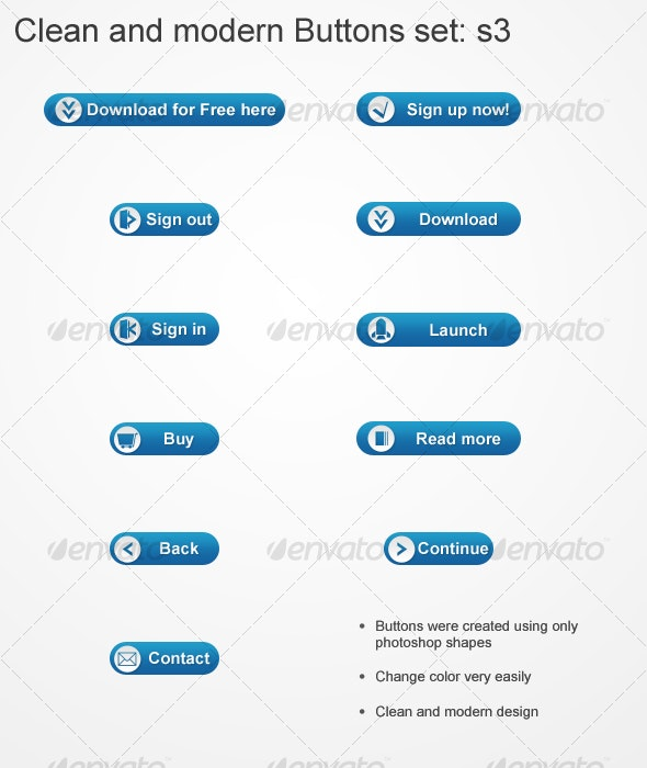 Clean and Modern Buttons set s3 - Buttons Web Elements