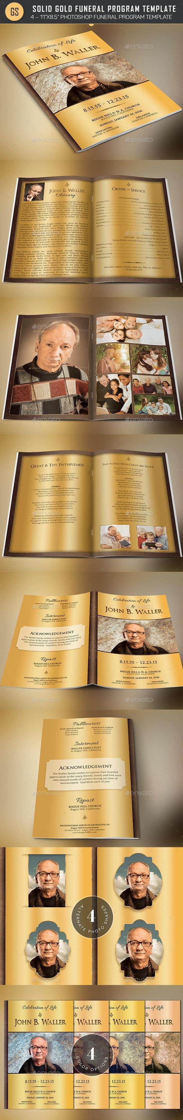 Solid Gold Funeral Program Template - Informational Brochures