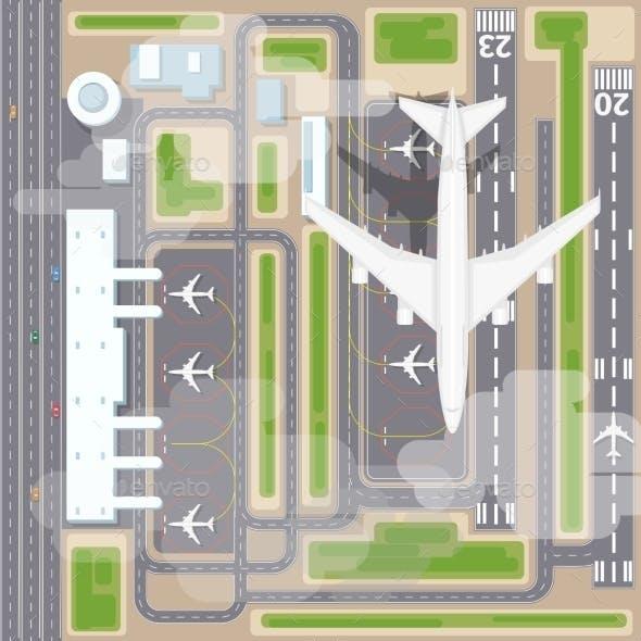 Airport Landing Strips Top View