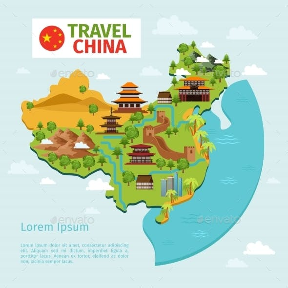 China Travel Vector Map With Traditional Chinese