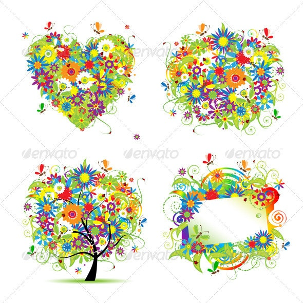 Summer style - tree, frame, bouquet, heart - Flowers & Plants Nature
