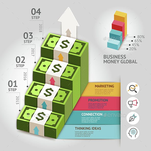 Business Money Global Arrow Staircase Infographics Template.