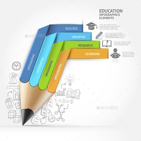 Education Pencil Staircase Infographics Template.
