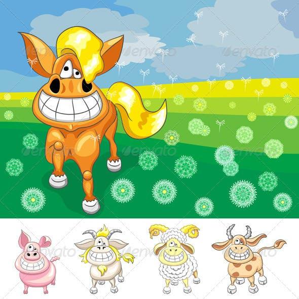 Vector Set Funny Cartoon Farm Animals