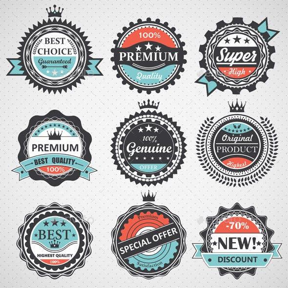 Set of Quality, Guaranteed, Genuine Badges
