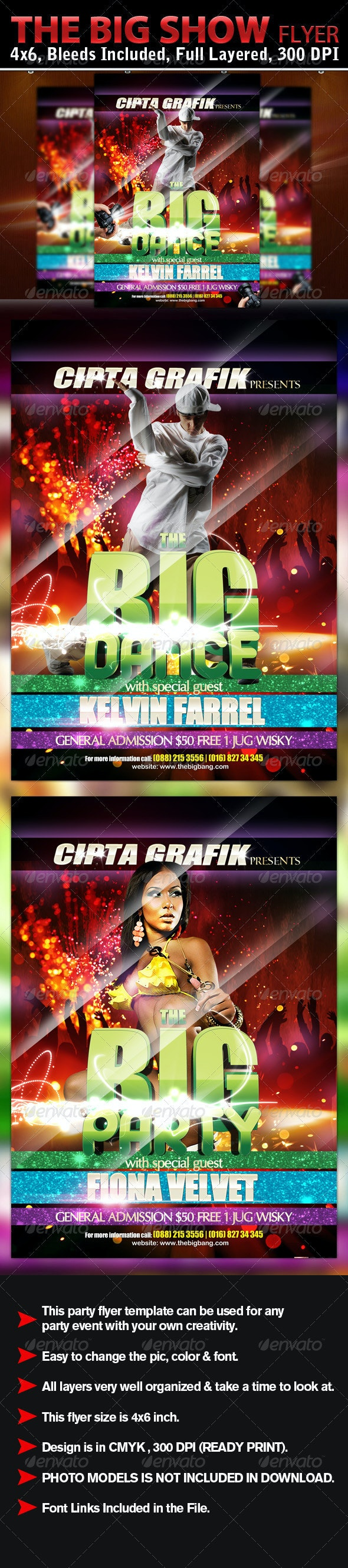 The Big Show Flyer Template - Clubs & Parties Events