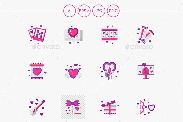 Bright pink love vector icons set - Abstract Icons