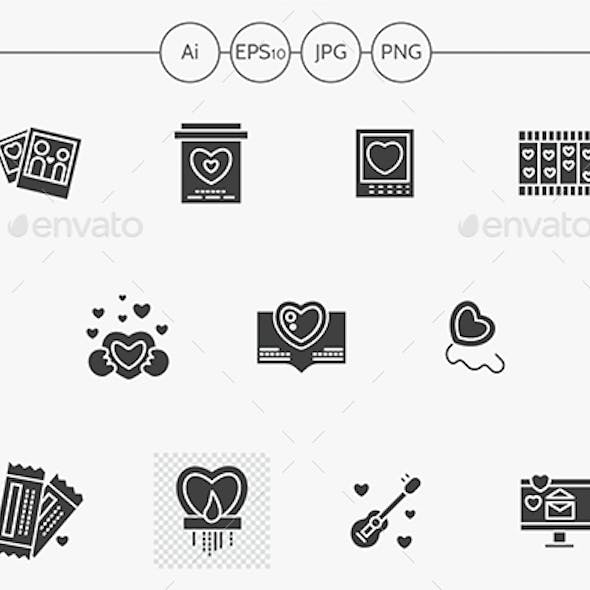 Black silhouette Valentines Day vector icons