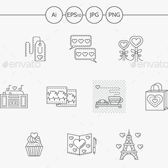 Thin line style love story vector icons