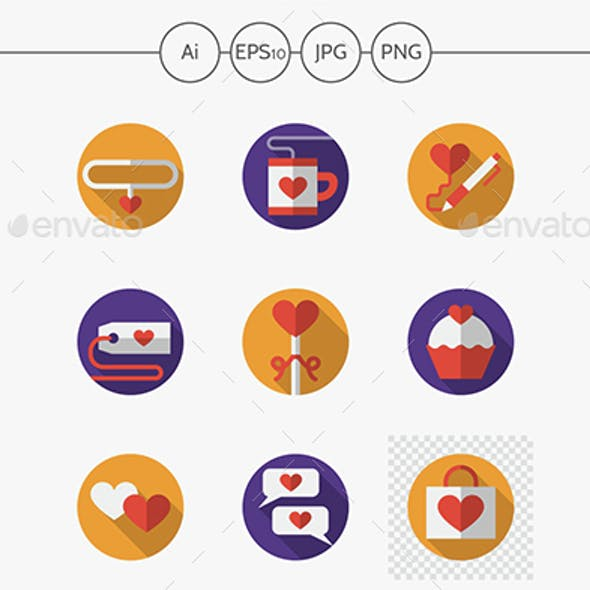 Dating and love round flat color vector icons