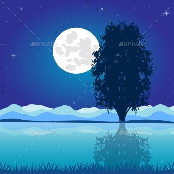 Moon Riverside Night - Landscapes Nature