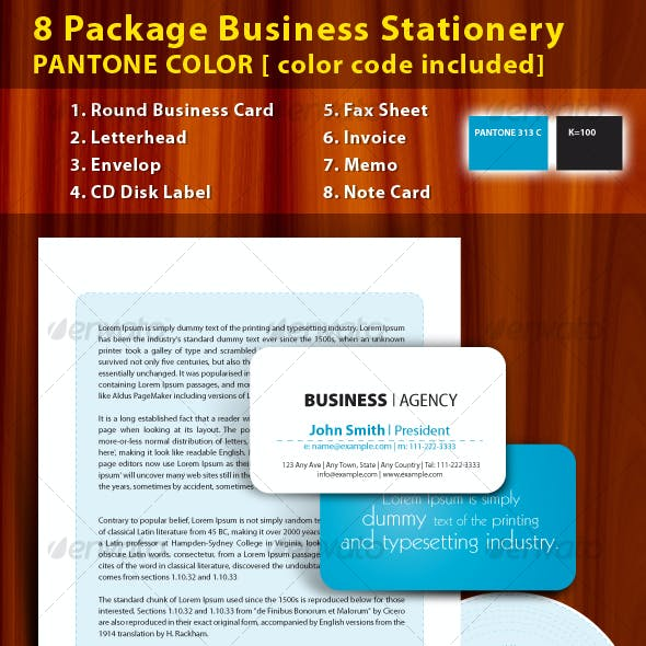 8 Package Business Stationery PANTONE COLOR !