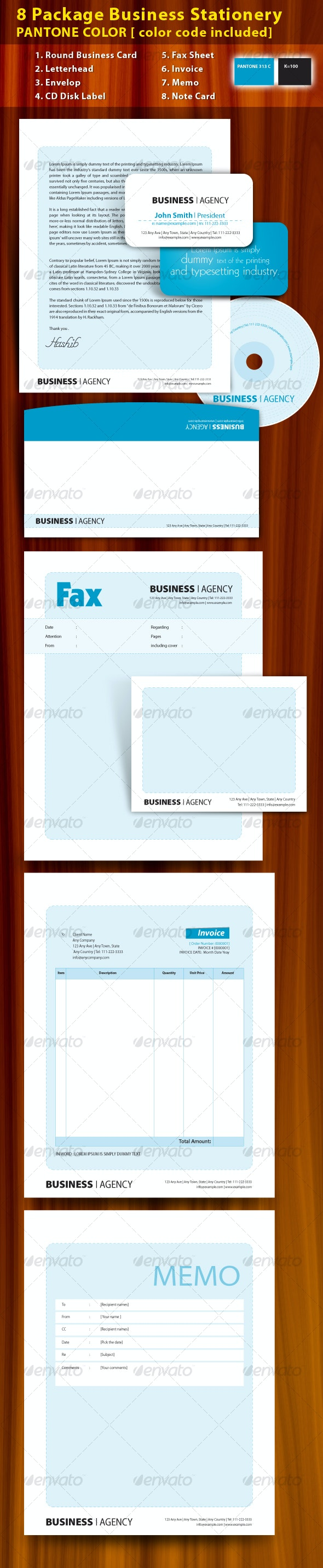 8 Package Business Stationery PANTONE COLOR ! - Stationery Print Templates