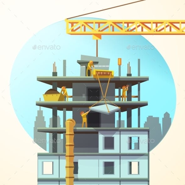 Retro Construction Cartoon