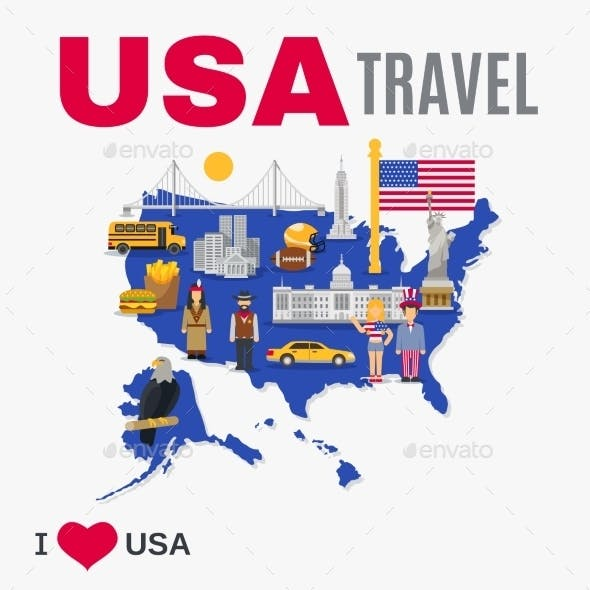 World Travel Agency USA Culture Flat Poster