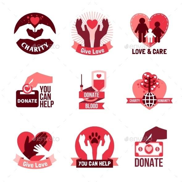 Charity Logo Emblems Set