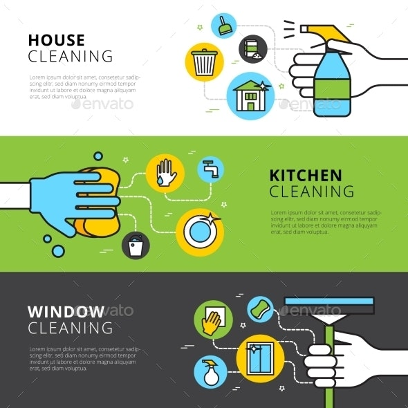 House Kitchen And Window Cleaning Banners - Business Conceptual