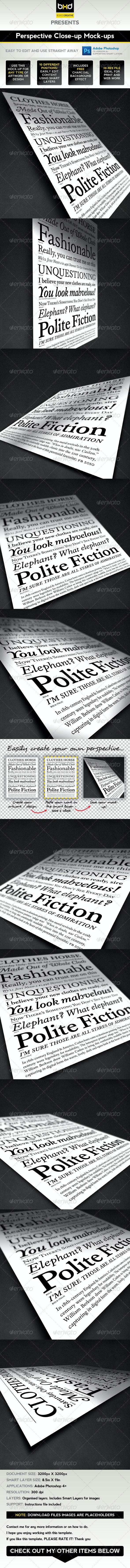 Perspective Mock-ups - Miscellaneous Print