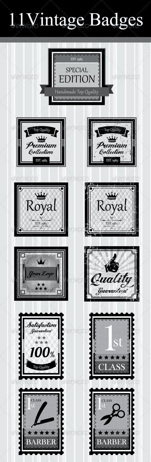 11Vintage Badges & Stamp - Badges & Stickers Web Elements