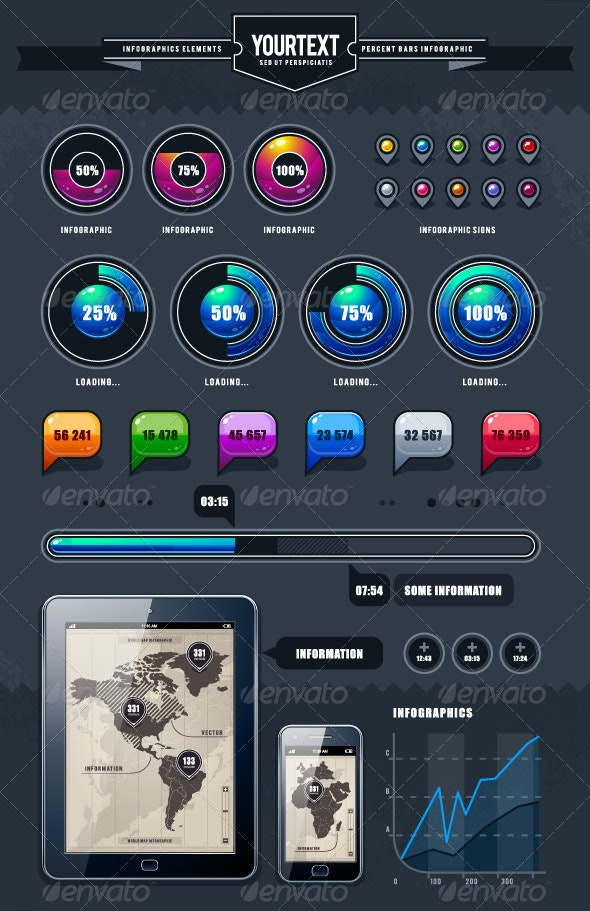 Vector Set of Infographic Elements - Infographics