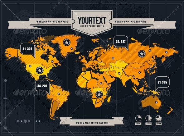 Vector World Map with Grunge and Infographic Elements - Infographics