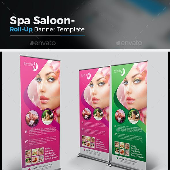 Salon Roll Up Banner And Spa Roll Up Banner Graphics Designs Templates