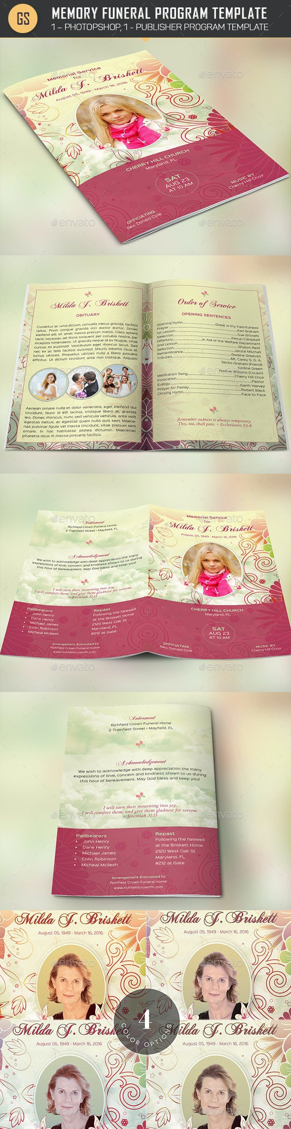 Memory Funeral Program Template - Informational Brochures
