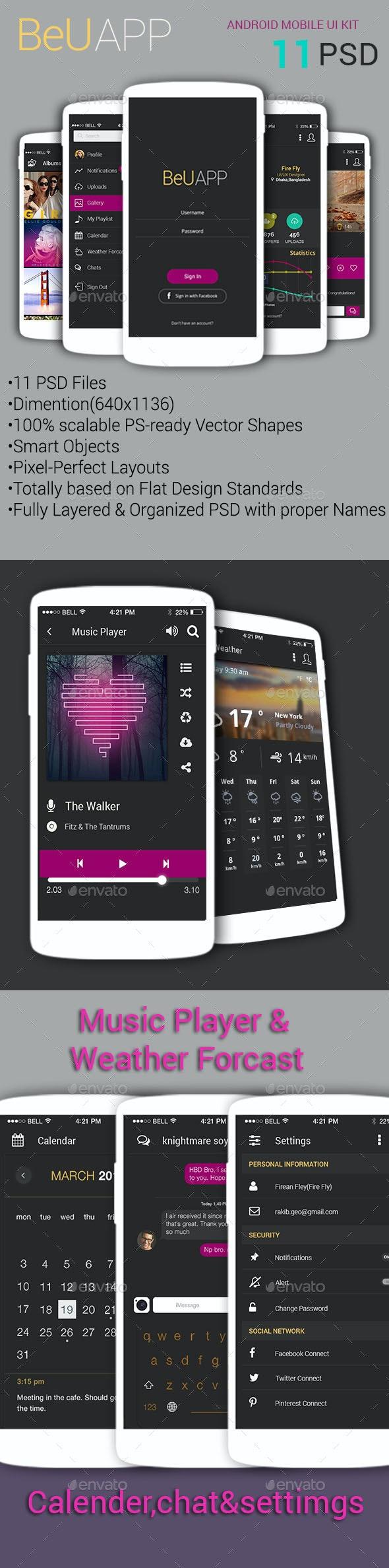 BeU APP Black – Android Mobile Design UI Kit - User Interfaces Web Elements