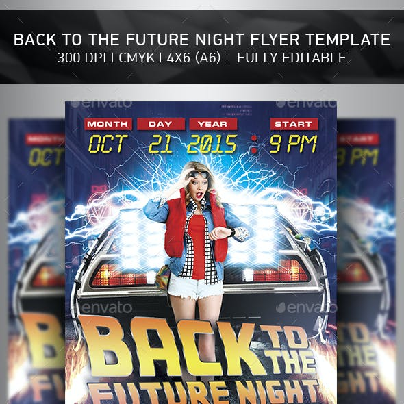 Bak to the  Future Flyer Template