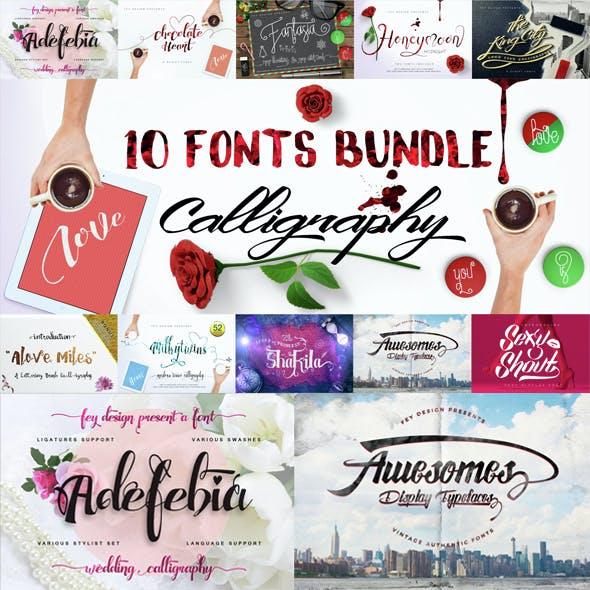 10 Fonts Bundle Calligraphy