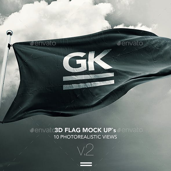 10 Realistic 3D Flag Mock-Up