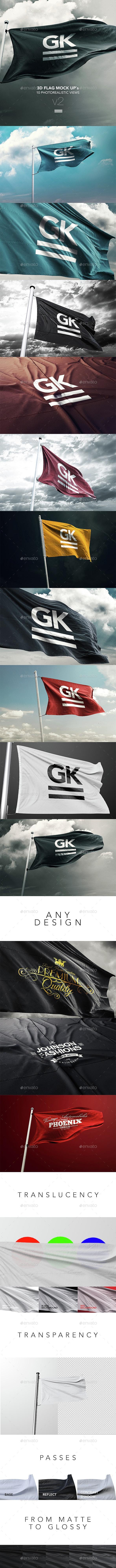 10 Realistic 3D Flag Mock-Up - Miscellaneous Print