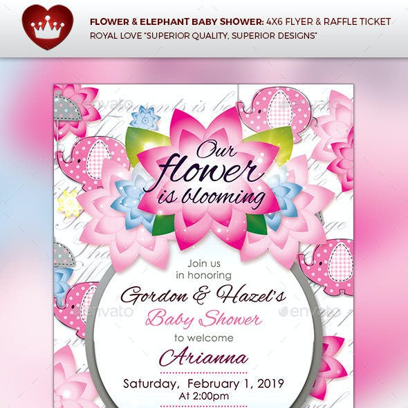 Flower & Elephant Baby Shower Invitation & Diaper Raffle Ticket