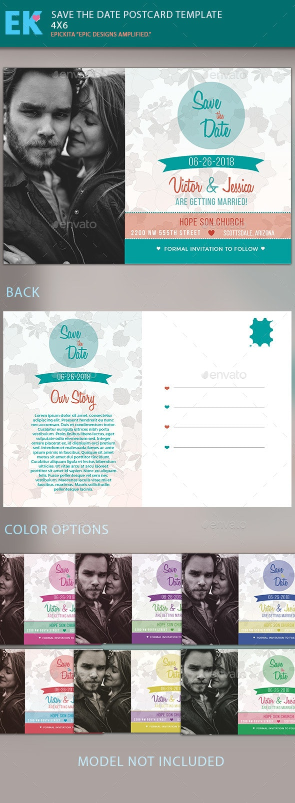 Save the Date Postcard Template - Invitations Cards & Invites