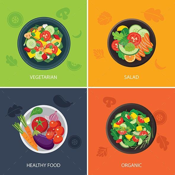 Food Web Banner Flat Design Vegetarian Organic Food Healthy Food By Kaisorn