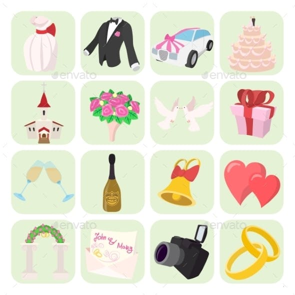 Wedding Cartoon Icons Set