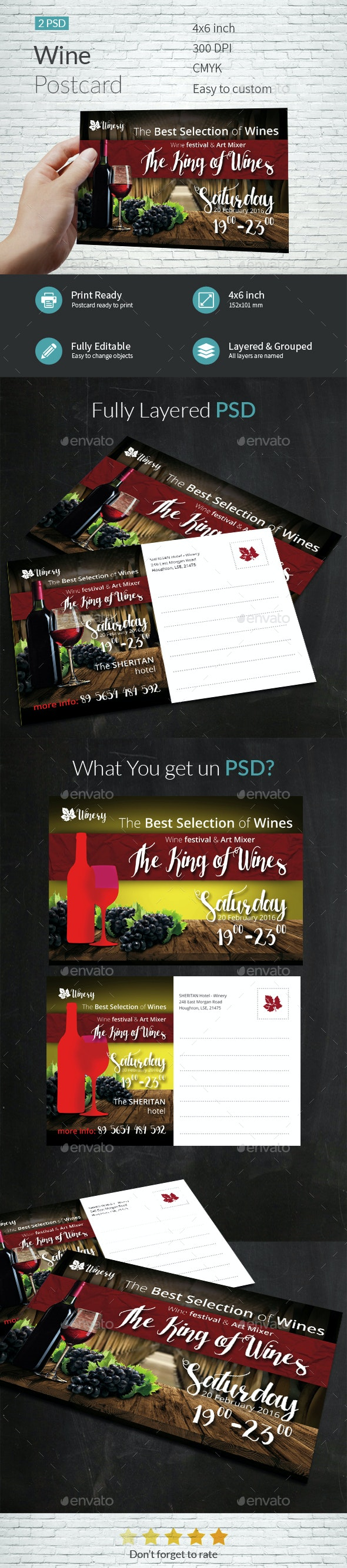 Wine Postcard Template - Cards & Invites Print Templates