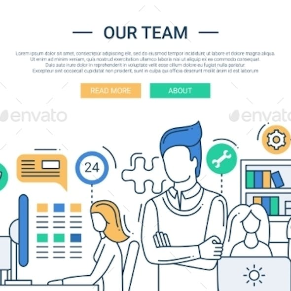 Our Team Line Flat Design Banner With Office