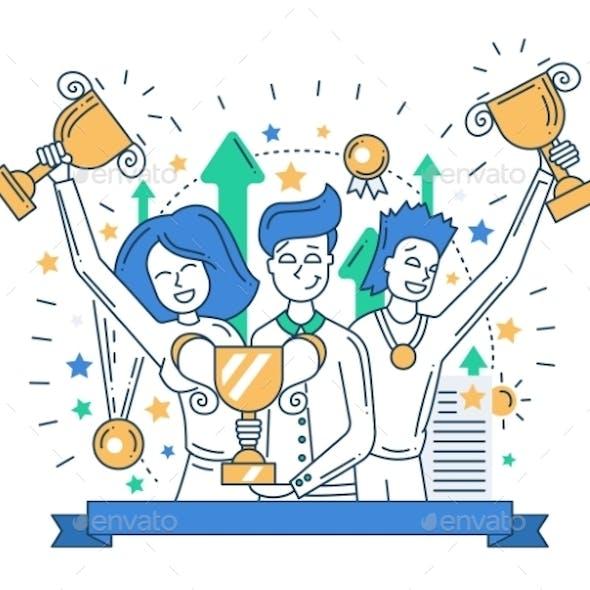 Happy Champions Line Design Banner